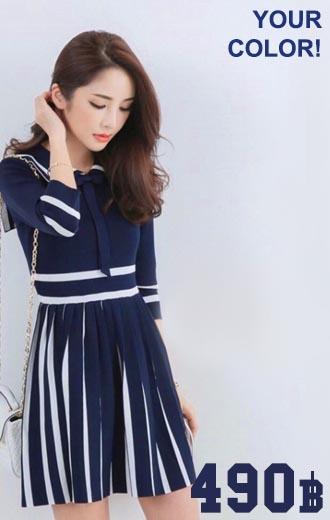 Lady Marine Knitting Dress เดรสไหมพรมสีกรม
