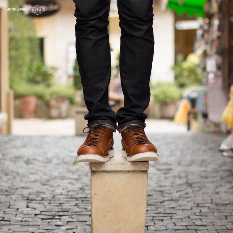 รองเท้าสนีกเกอร์หนัง รองเท้าหนัง Moonlight - สี Brown - CAPTAIN LEATHER