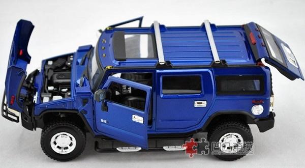 โมเดลรถเหล็ก โมเดลรถยนต์ Hummer H2 blue 6