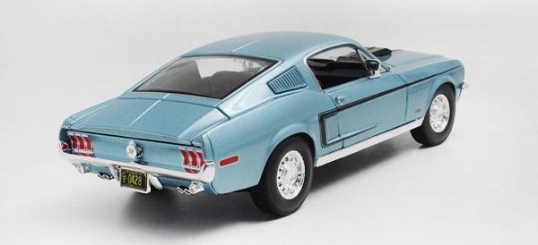 โมเดลรถ โมเดลรถเหล็ก โมเดลรถยนต์ Ford Mustang GT Jet 1968 ฟ้า 2