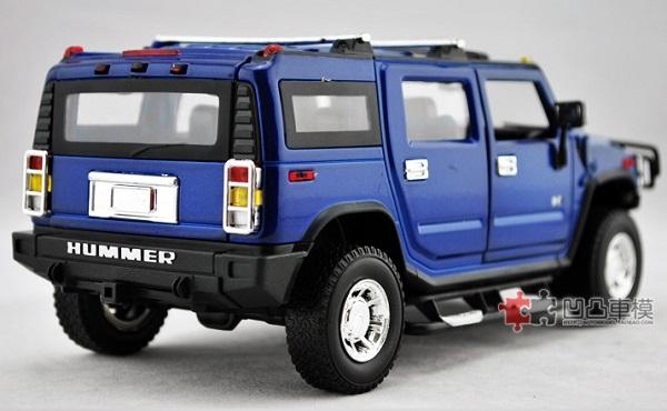 โมเดลรถเหล็ก โมเดลรถยนต์ Hummer H2 blue 2