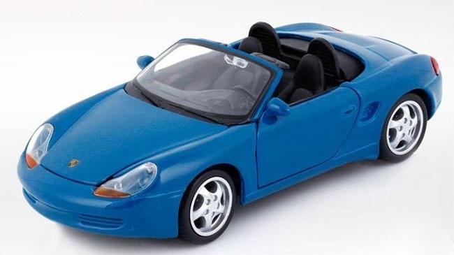 โมเดลรถ โมเดลรถยนต์ โมเดลรถเหล็ก porsche boxster blue 1