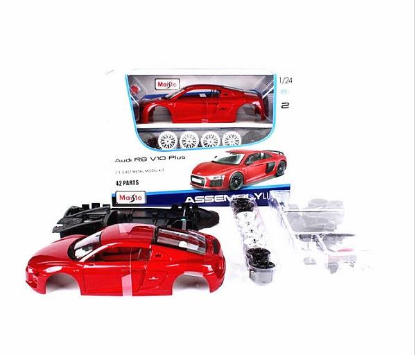 โมเดลรถประกอบ รถเหล็กประกอบ โมเดลรถเหล็กประกอบ, โมเดลรถยนต์ประกอบ Audi R8 V10 red 1