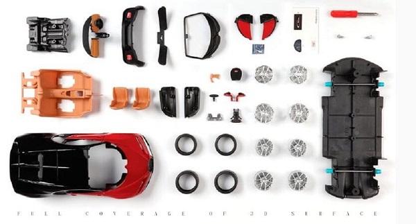 โมเดลรถประกอบ รถเหล็กประกอบ โมเดลรถเหล็กประกอบ, โมเดลรถยนต์ประกอบ Bugatti Chiron red 2