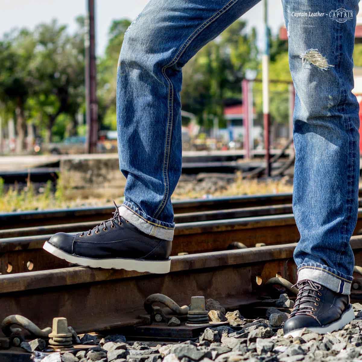 รองเท้าสนีกเกอร์หนัง รองเท้าหนัง Moonlight - สี Black - CAPTAIN LEATHER