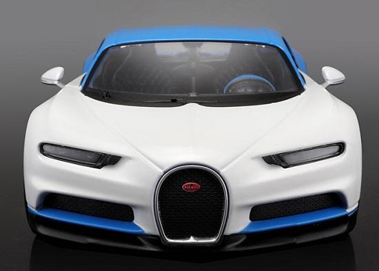 โมเดลรถยนต์ โมเดลรถเหล็ก Bugatti Chiron blue white 4