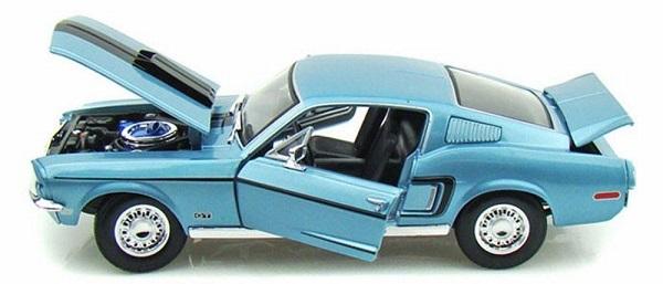 โมเดลรถ โมเดลรถเหล็ก โมเดลรถยนต์ Ford Mustang GT Jet 1968 ฟ้า 5
