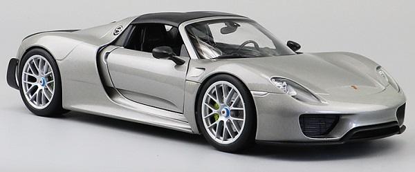โมเดลรถ โมเดลรถเหล็ก โมเดลรถยนต์ Porsche 918 silver 4