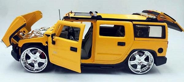 โมเดลรถเหล็ก โมเดลรถยนต์ Hummer H2 yelllow 4