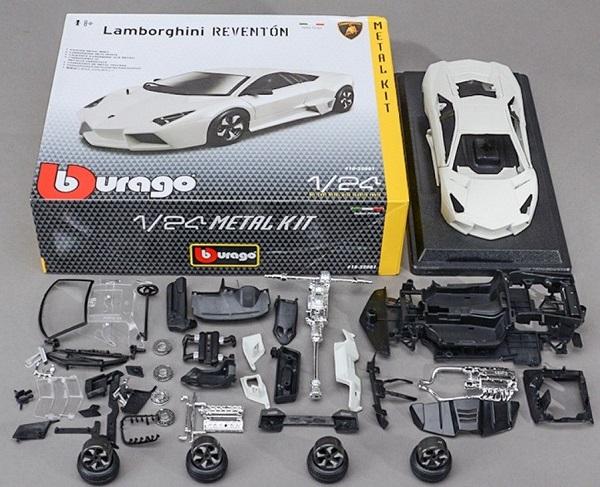 โมเดลรถประกอบ รถเหล็กประกอบ โมเดลรถเหล็กประกอบ, โมเดลรถยนต์ประกอบ Lamborghini Reventon ขาว 1