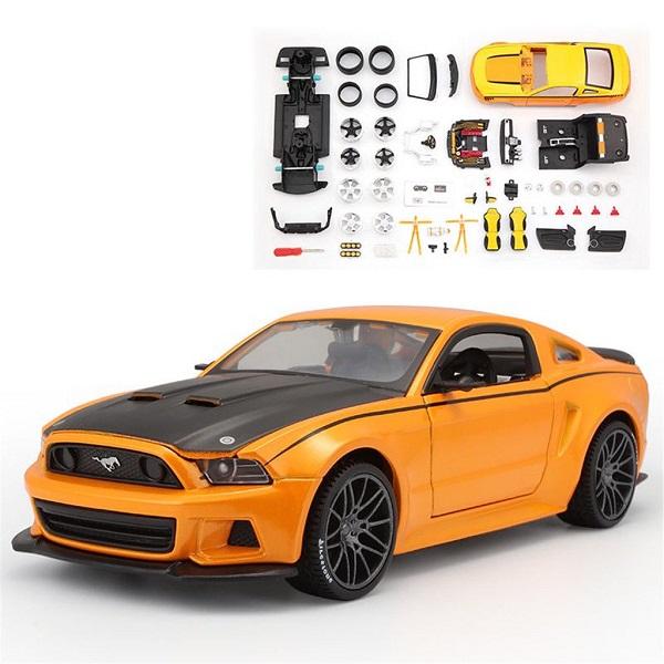 โมเดลรถประกอบ รถเหล็กประกอบ โมเดลรถเหล็กประกอบ, โมเดลรถยนต์ประกอบ Ford Mustang Street Racer ส้ม 1