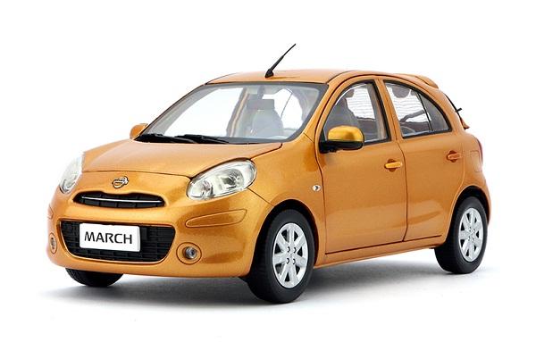 โมเดลรถ โมเดลรถยนต์ โมเดลรถเหล็ก Nissan March orange 1