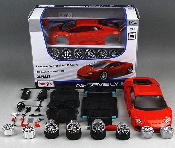 โมเดลรถประกอบ รถเหล็กประกอบ โมเดลรถเหล็กประกอบ, โมเดลรถยนต์ประกอบ Lamborghini lp610-4 red 1