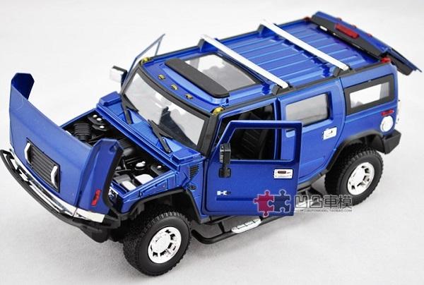 โมเดลรถเหล็ก โมเดลรถยนต์ Hummer H2 blue 4